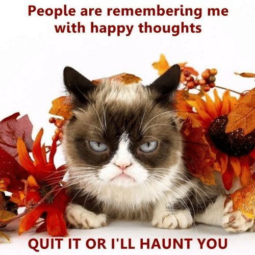 Quit It: People are remembering me  with happy thoughts  QUIT IT OR I'LL HAUNT YOU