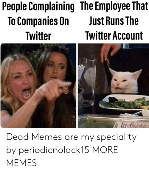 Dead Memes: People Complaining The Employee That  To Companies On  Just Runs The  Twitter Account  Twitter Dead Memes are my speciality by periodicnolack15 MORE MEMES