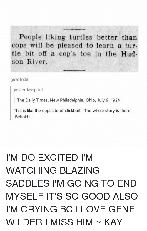 saddles: People liking turtles better than  copsw be pleased to learn a tur-  tle bit off a cop's toe in the Hud  son River.  giraffodil:  yesterdaysprint:  The Daily Times, New Philadelphia, Ohio, July 9, 1924  This is like the opposite of clickbait. The whole story is there.  Behold it. I'M DO EXCITED I'M WATCHING BLAZING SADDLES I'M GOING TO END MYSELF IT'S SO GOOD ALSO I'M CRYING BC I LOVE GENE WILDER I MISS HIM ~ KAY