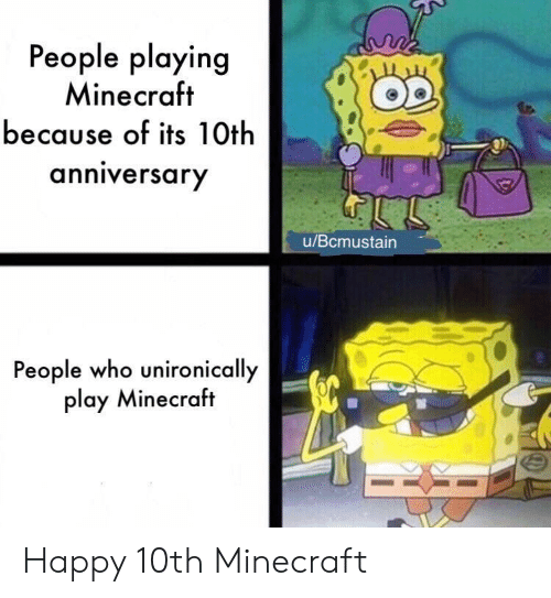 10Th Anniversary: People playing  Minecraft  because of its 10th  anniversary  u/Bcmustain  People who unironically  play Minecraft Happy 10th Minecraft