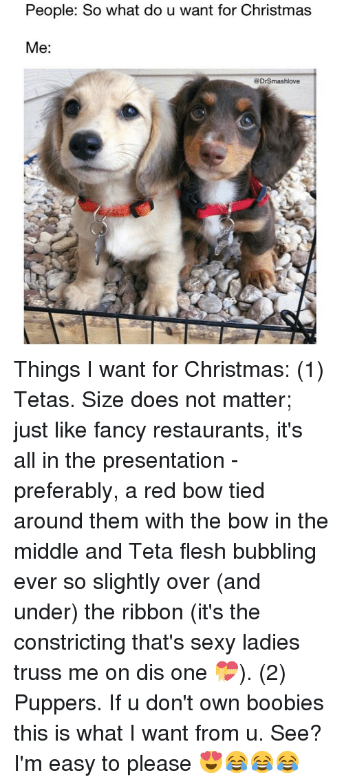 Boobie: People: So what do u want for Christmas  Me  DrSmashlove Things I want for Christmas: (1) Tetas. Size does not matter; just like fancy restaurants, it's all in the presentation - preferably, a red bow tied around them with the bow in the middle and Teta flesh bubbling ever so slightly over (and under) the ribbon (it's the constricting that's sexy ladies truss me on dis one 💝). (2) Puppers. If u don't own boobies this is what I want from u. See? I'm easy to please 😍😂😂😂