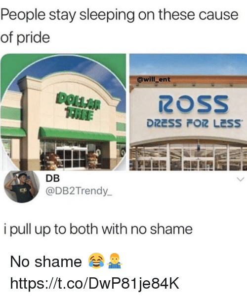Dress, Sleeping, and Shame: People stay sleeping on these cause  of pride  @will_ent  DRESS FOR LESS.  DB  @DB2Trendy  i pull up to both with no shame No shame 😂🤷♂️ https://t.co/DwP81je84K