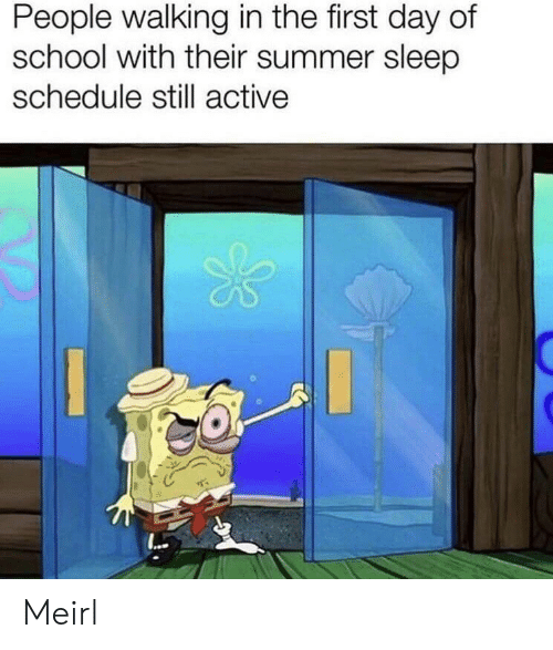 Schedule: People walking in the first day of  school with their summer sleep  schedule still active Meirl