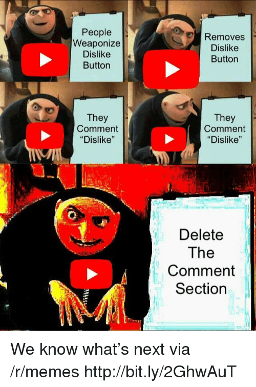 "Memes, Http, and Next: People  Weaponize  Dislike  Button  Removes  Dislike  Button  They  Comment  ""Dislike""  They  Comment  ""Dislike""  Delete  The  Comment  Section We know what's next via /r/memes http://bit.ly/2GhwAuT"