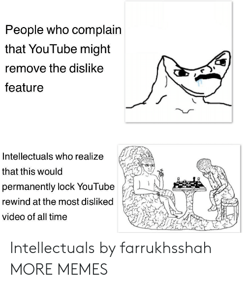 Dank, Memes, and Target: People who complain  that YouTube might  remove the dislike  feature  Intellectuals who realize  that this would  permanently lock YouTube  rewind at the most dislik  video of all time Intellectuals by farrukhsshah MORE MEMES