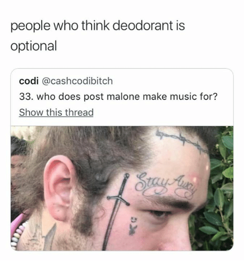 Music, Post Malone, and Who: people who think deodorant is  optional  codi @cashcodibitch  33. who does post malone make music for?  Show this thread