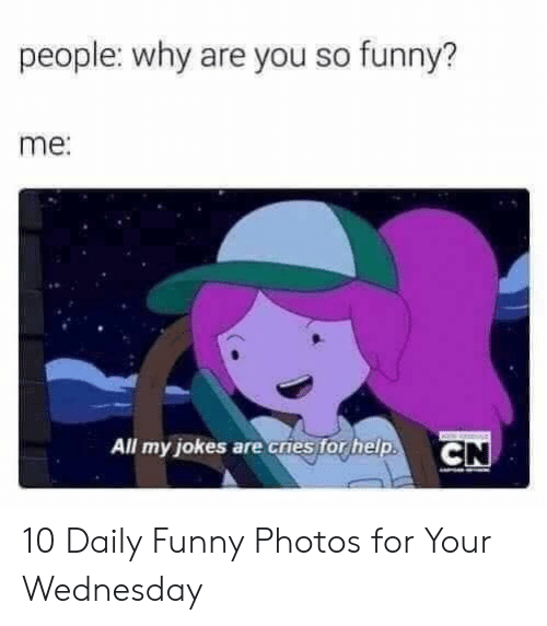 you so funny: people: why are you so funny?  me:  All my jokes are cries for help.  CN 10 Daily Funny Photos for Your Wednesday