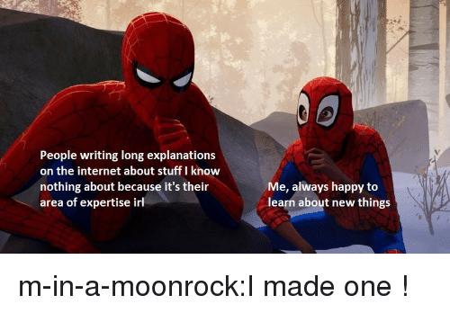 Explanations: People writing long explanations  on the internet about stuff I know  nothing about because it's their  area of expertise irl  Me, always happy to  learn about new things m-in-a-moonrock:I made one !