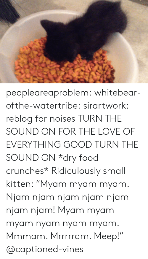 """crunches: peopleareaproblem: whitebear-ofthe-watertribe:  sirartwork:  reblog for noises  TURN THE SOUND ON FOR THE LOVE OF EVERYTHING GOOD TURN THE SOUND ON  *dry food crunches* Ridiculously small kitten: """"Myam myam myam. Njam njam njam njam njam njam njam! Myam myam myam nyam nyam myam. Mmmam. Mrrrrram. Meep!"""" @captioned-vines"""