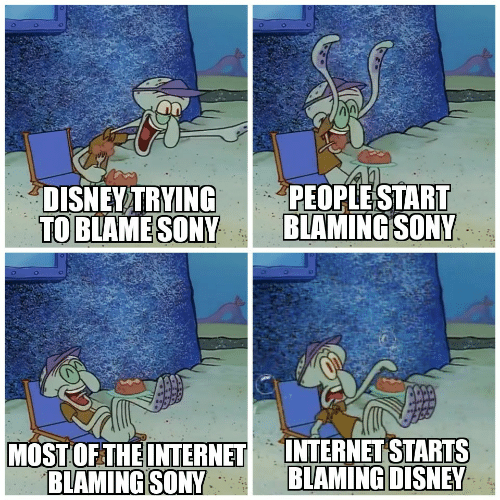 Disney, Internet, and Sony: PEOPLESTART  BLAMING SONY  DISNEY TRYING  TO BLAME SONY  INTERNET STARTS  BLAMING DISNEY  MOST OF THE INTERNET  BLAMING SONY