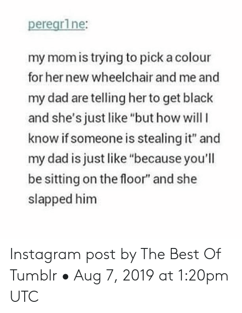 "Colour: peregr1ne:  my mom is trying to pick a colour  for her new wheelchair and me and  my dad are telling her to get black  and she's just like ""but how willI  know if someone is stealing it"" and  my dad is just like ""because you'll  be sitting on the floor"" and she  slapped him Instagram post by The Best Of Tumblr • Aug 7, 2019 at 1:20pm UTC"
