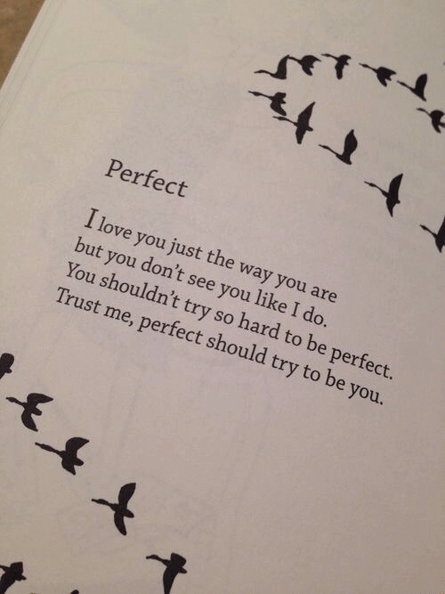 trust me: Perfect  I love you just the way you are  but you don't see you like I do.  You shouldn't try so hard to be perfect.  Trust me, perfect should try to be you.  -F