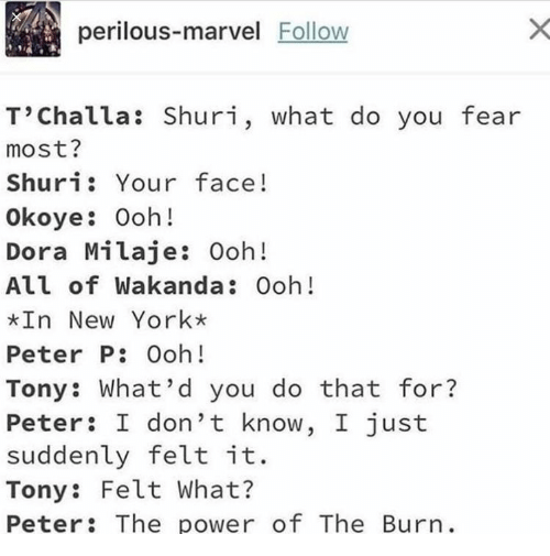 New York, Dora, and Marvel: perilous-marvel Follow  T'Challa: Shuri, what do you fear  most?  Shuri: Your face!  Okoye: Ooh!  Dora Milaje: Ooh!  All of Wakanda: Ooh!  In New York*  Peter P: Ooh!  Tony: What'd you do that for?  Peter: I don't know, I just  suddenly felt it.  Tony: Felt What?  Peter: The power of The Burn.