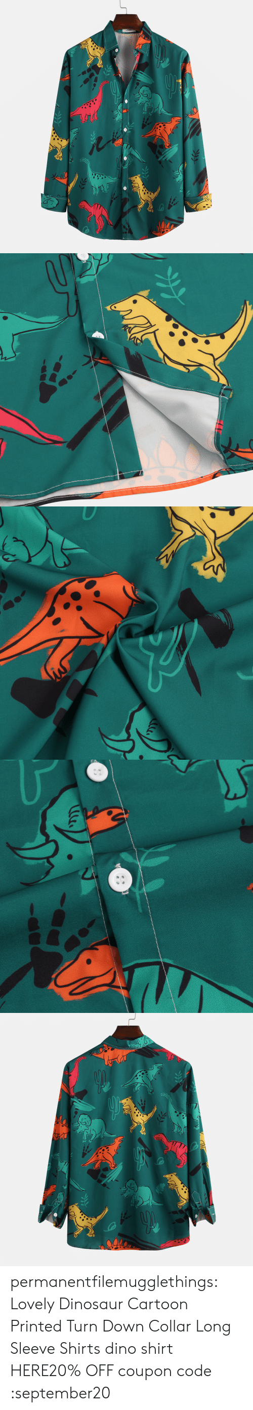 Dinosaur, Tumblr, and Blog: permanentfilemugglethings:  Lovely Dinosaur Cartoon Printed Turn Down Collar Long Sleeve Shirts dino shirt HERE20% OFF coupon code :september20
