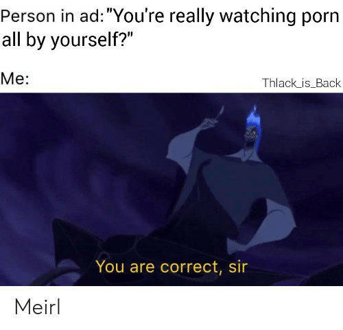 "Porn, MeIRL, and Back: Person in ad: ""You're really watching porn  all by yourself?""  Me:  Thlack_is_Back  You are correct, sir Meirl"