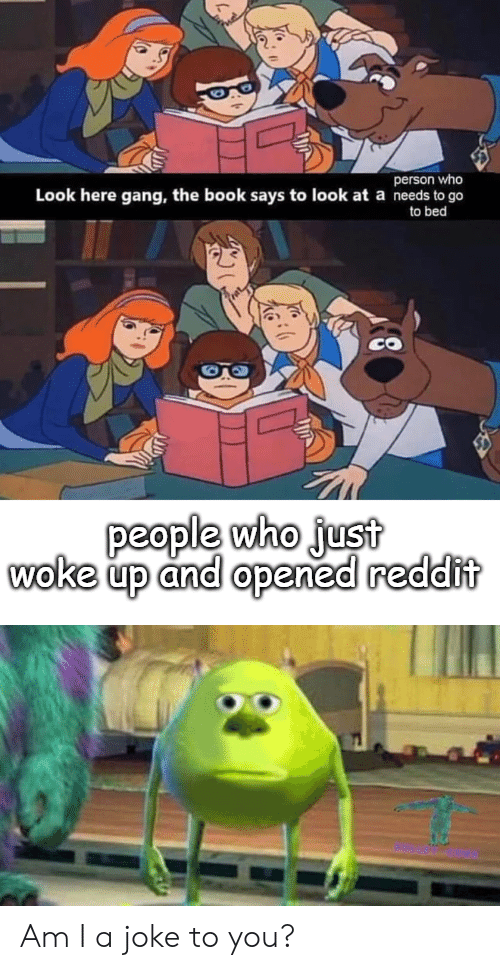Reddit, Gang, and Book: person who  Look here gang, the book says to look at a needs to go  to bed  people who just  woke up and opened reddit Am I a joke to you?