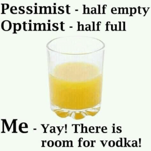 Dank, Vodka, and 🤖: Pessimist - half empty  Optimist - half full  Me -Yay! There is  room for vodka!