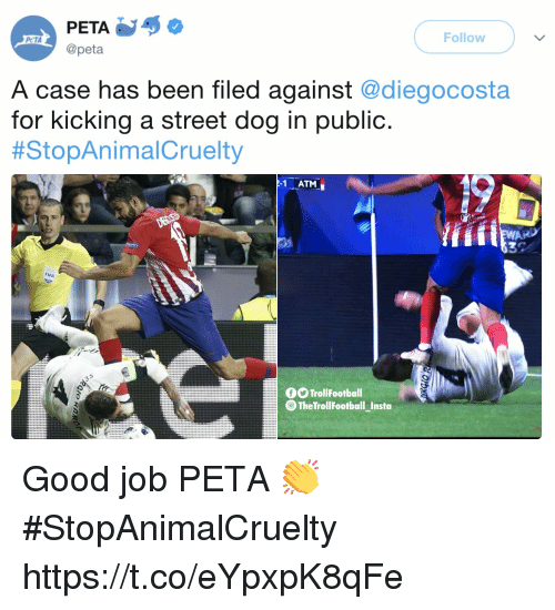 Fifa, Memes, and Peta: PETA  @peta  Follow  PCTA  A case has been filed against @diegocosta  for kicking a street dog in public.  #StopAnima!Cruelty  1 ATM  FIFA  OO TrollFootball  @ The TrollFootball Insto Good job PETA 👏 #StopAnimalCruelty https://t.co/eYpxpK8qFe