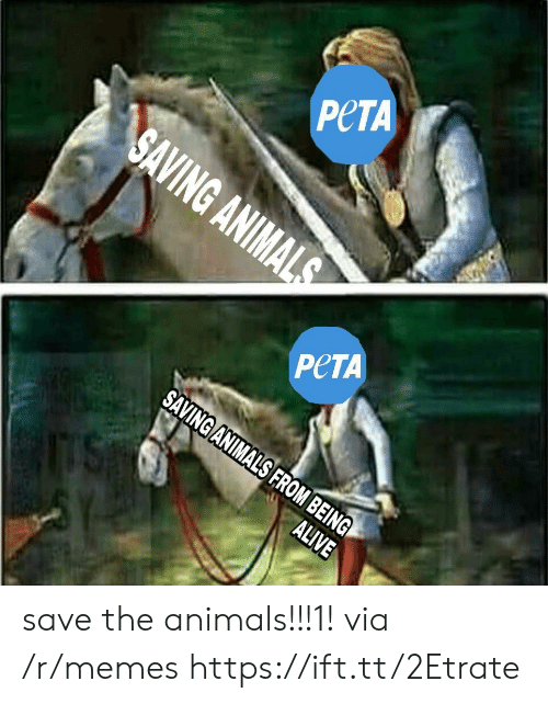 Animals, Memes, and Peta: PeTA  PeTA  NIMALS FROM B  BEING save the animals!!!1! via /r/memes https://ift.tt/2Etrate