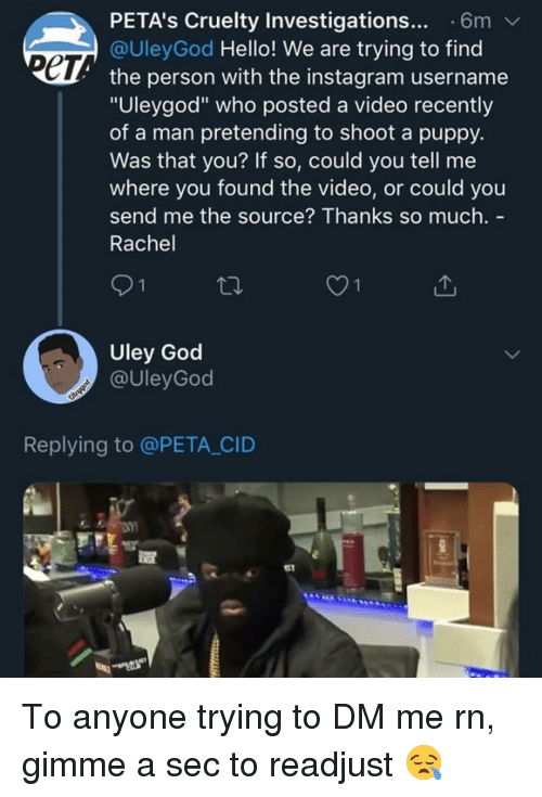 "God, Hello, and Instagram: PETA's Cruelty Investigations... 6m  @UleyGod Hello! We are trying to find  ет  the person with the instagram username  ""Uleygod"" who posted a video recently  of a man pretending to shoot a puppy.  Was that you? If so, could you tell me  where you found the video, or could you  send me the source? Thanks so much. -  Rachel  O1  Uley God  @UleyGod  Replying to @PETA CID  51 To anyone trying to DM me rn, gimme a sec to readjust 😪"