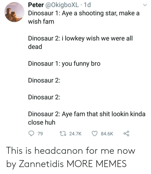 shooting star: Peter @OkigboXL 1d  Dinosaur 1: Aye a shooting star, make a  wish tam  Dinosaur 2: i lowkey wish we were all  dead  Dinosaur 1: you funny bro  Dinosaur 2:  Dinosaur 2:  Dinosaur 2: Aye fam that shit lookin kinda  close huh  79  24.7K  84.6K This is headcanon for me now by Zannetidis MORE MEMES