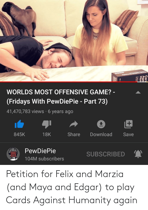 cards: Petition for Felix and Marzia (and Maya and Edgar) to play Cards Against Humanity again
