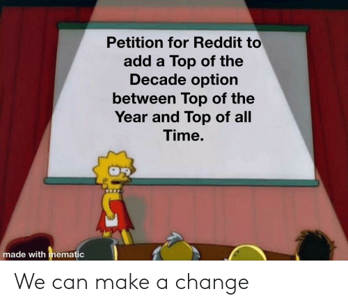 Between: Petition for Reddit to  add a Top of the  Decade option  between Top of the  Year and Top of all  Time.  made with mematic We can make a change