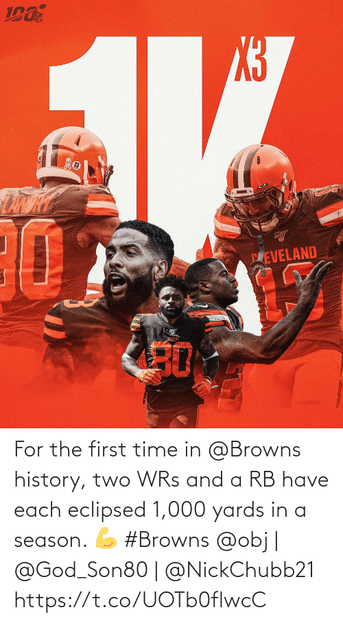 First Time: PEVELAND  BEOWNS  30 For the first time in @Browns history, two WRs and a RB have each eclipsed 1,000 yards in a season. 💪 #Browns  @obj | @God_Son80 | @NickChubb21 https://t.co/UOTb0flwcC