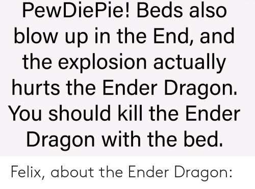 Dragon, Blow, and Ender: PewDiePie! Beds also  blow up in the End, and  the explosion actually  hurts the Ender Dragon.  You should kill the Ender  Dragon with the bed. Felix, about the Ender Dragon: