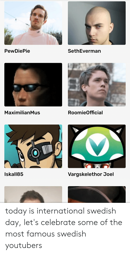 Maximilianmus: PewDiePie  SethEverman  RoomieOfficial  MaximilianMus  Iskall85  Vargskelethor Joel today is international swedish day, let's celebrate some of the most famous swedish youtubers