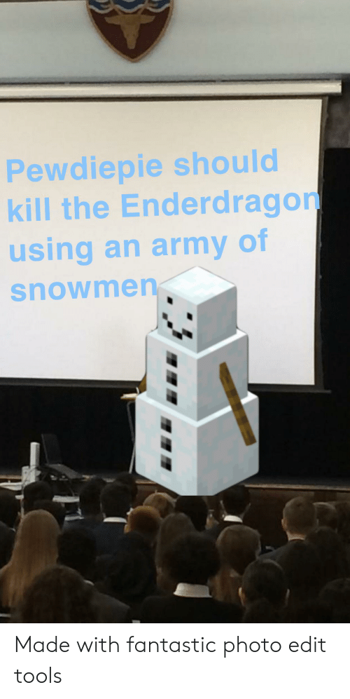 Army, Tools, and Photo: Pewdiepie should  kill the Enderdragon  using an army of  snowmen Made with fantastic photo edit tools