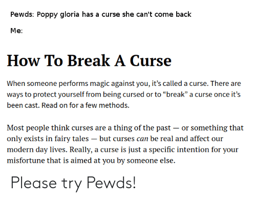 Pewds Poppy Gloria Has a Curse She Can't Come Back Me How to Break a