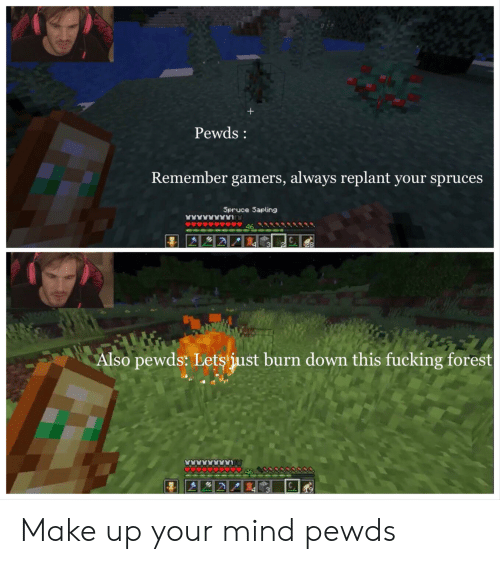 Fucking, Mind, and Forest: Pewds:  Remember gamers, always replant your spruces  Spruce Sapling  46  3  4  Also pewds: Lets just burn down this fucking forest Make up your mind pewds