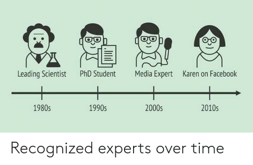 Phd Student: PhD Student  Media Expert  Leading Scientist  Karen on Facebook  1980s  1990s  2000s  2010s Recognized experts over time