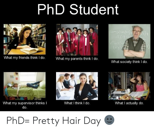 Phd Student: PhD Student  What my friends think I do.  What my parents think I do.  What society think I do.  What I think I do.  What I actually do.  What my supervisor thinks I  do. PhD= Pretty Hair Day 🌚