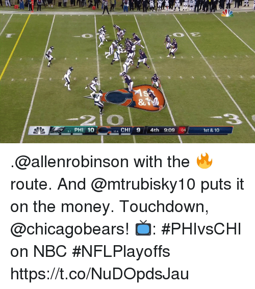 chicagobears: PHI 10  4 CHI9 4th 9:09 :04  12-4  1st & 10 .@allenrobinson with the 🔥 route. And @mtrubisky10 puts it on the money.  Touchdown, @chicagobears!  📺: #PHIvsCHI on NBC #NFLPlayoffs https://t.co/NuDOpdsJau