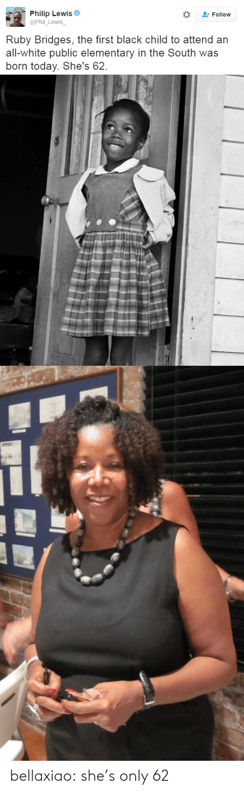 Black Child: Philip Lewis  @Phil_Lewis  Follow  Ruby Bridges, the first black child to attend an  all-white public elementary in the South was  born today. She's 62. bellaxiao:  she's only 62