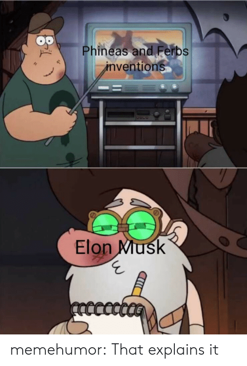 inventions: Phineas and Ferbs  inventions  Elon Musk  ncccct memehumor:  That explains it