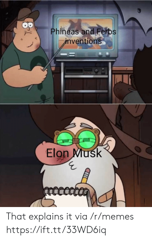 phineas: Phineas and Ferbs  inventions  Elon Musk  ncccct That explains it via /r/memes https://ift.tt/33WD6iq