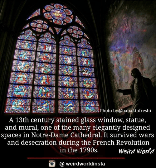 Memes, Weird, and Notre Dame: Photo by@babaktafreshi  A 13th century stained glass window, statue,  and mural, one of the many elegantly designed  spaces in Notre-Dame Cathedral. It survived wars  and desecration during the French Revolution  in the 1790s.  Weird World  @ weirdworldinsta