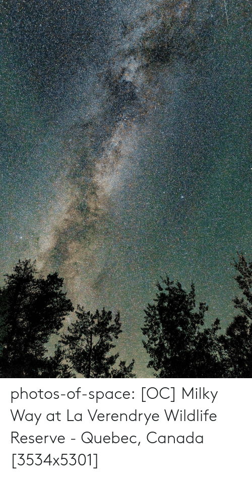 Tumblr, Blog, and Canada: photos-of-space:  [OC] Milky Way at La Verendrye Wildlife Reserve - Quebec, Canada [3534x5301]