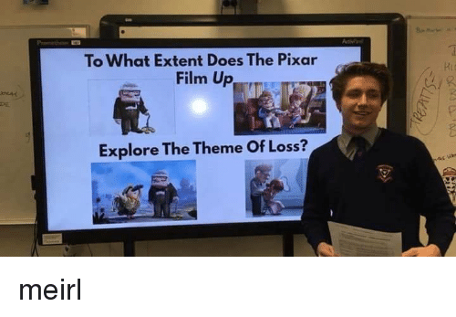 extent: Pi  To What Extent Does The Pixar  Film Up  Explore The Theme Of Loss? meirl