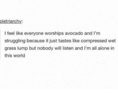 Grasse: pietriarchy  I feel like everyone worships avocado and I'm  struggling because it just tastes like compressed wet  grass lump but nobody will listen and I'm all alone in  this world