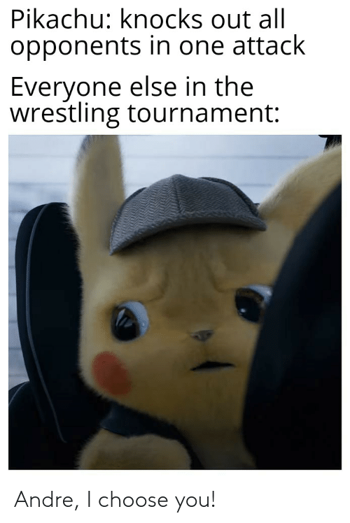 Pikachu, Reddit, and Wrestling: Pikachu: knocks out all  opponents in one attack  Everyone else in the  wrestling tournament: Andre, I choose you!