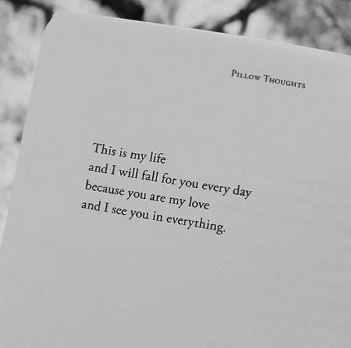 i see you: PILLOW THOUGHTS  This is my life  and I will fall for you every day  because you are my love  and I see you in everything