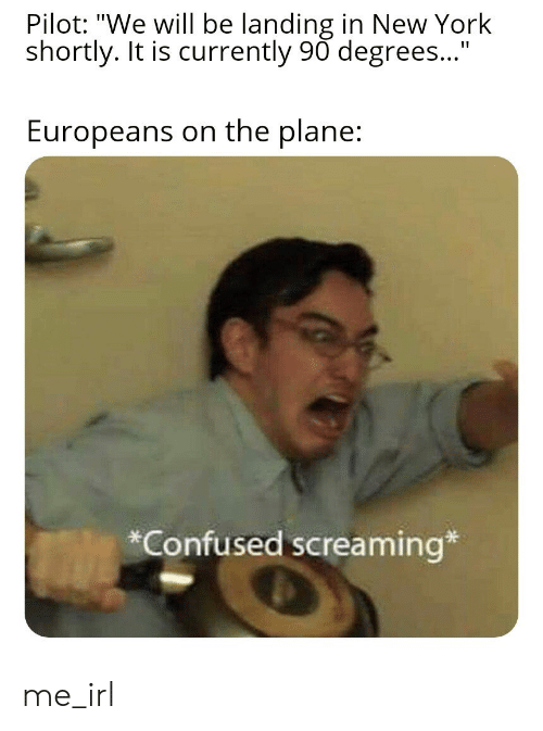 "Confused, New York, and Irl: Pilot: ""We will be landing in New York  shortly. It is currently 90 degrees...""  Europeans on the plane:  Confused screaming* me_irl"