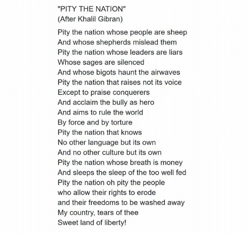 Image result for pity the nation khalil gibran
