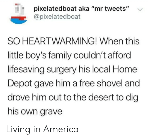 "Home: pixelatedboat aka ""mr tweets""  @pixelatedboat  SO HEARTWARMING! When this  little boy's family couldn't afford  lifesaving surgery his local Home  Depot gave him a free shovel and  drove him out to the desert to dig  his own grave Living in America"