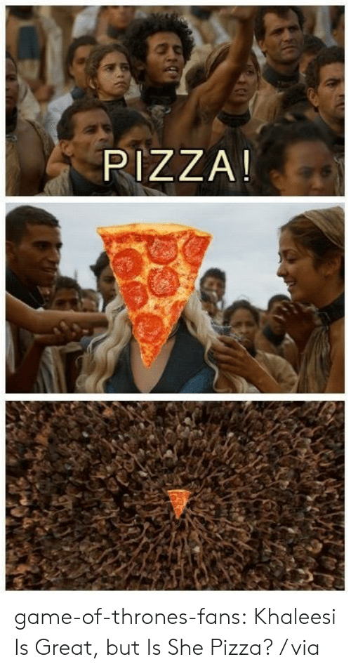 Game of Thrones, Pizza, and Tumblr: PIZZA! game-of-thrones-fans:  Khaleesi Is Great, but Is She Pizza? / via
