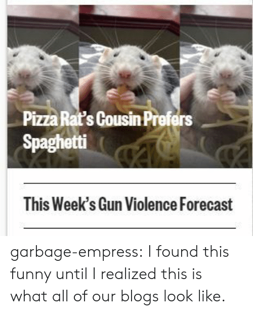 Funny, Pizza, and Tumblr: Pizza Rat's Cousin Prefers  Spaghetti  This Week's Gun Violence Forecast garbage-empress:  I found this funny until I realized this is what all of our blogs look like.